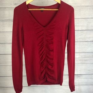 Express Sweater Red Fitted V-Neck